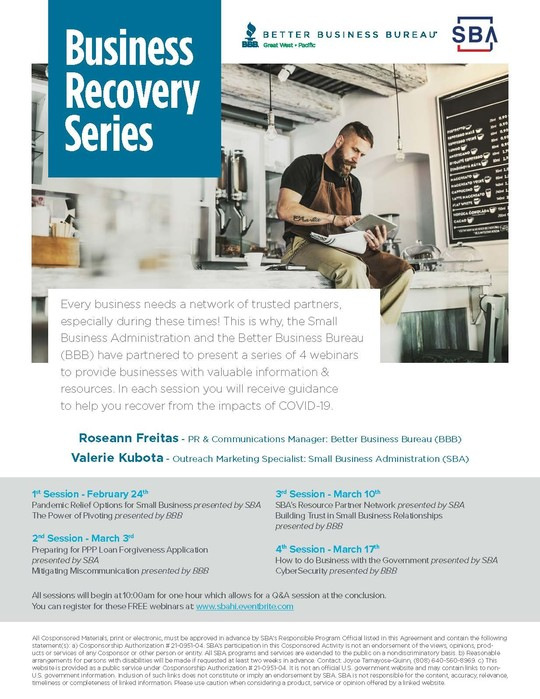 Business Recovery Series Feb-Mar 2021 flyer