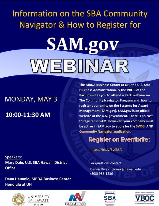 sam.gov webinar flyer