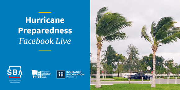 """The text """"Hurricane Preparedness Facebook Live"""" on the left of the graphic with SBA, IBHS and III logos. Photo of palm trees blowing on the right."""