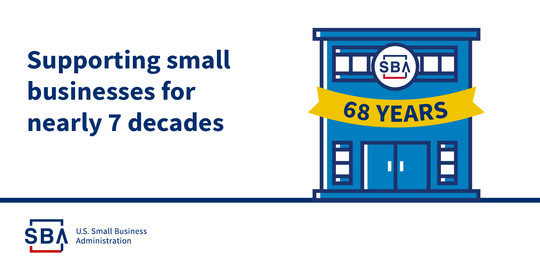 Illustration of an SBA building with a banner that says 68 years. The text reads, supporting small businesses for nearly 7 decades.