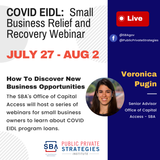 Photo of Veronica Pugin with text COVID EIDL Small Business Relief and Recovery Webinar