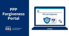 Illustration of a laptop with text that includes, PPP Forgiveness Portal