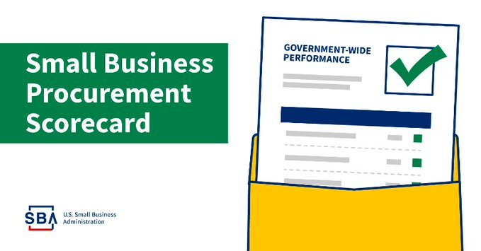 Illustration of a document and an envelope with text that includes small business procurement scorecard