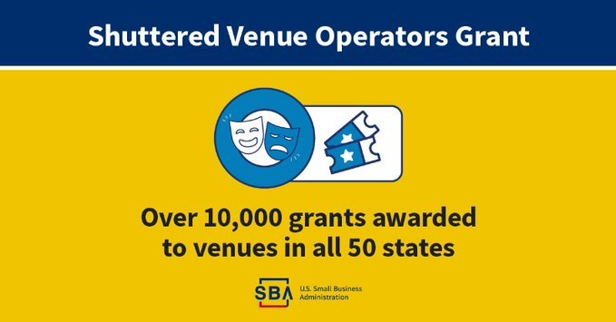 Illustration of theatre mask & tickets with text that includes Shuttered Venue Operators Grant, over 10,000 grants awarded to venues in all 50 states
