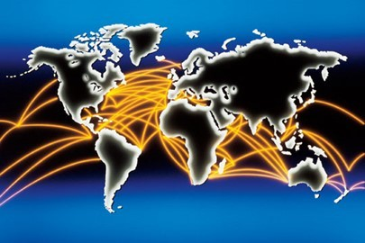 Image for International Trade: Map of the world with lines connecting other countries, indicating trade and exporting