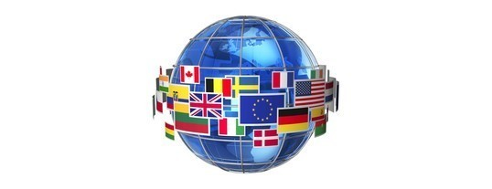 image of globe with flags