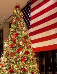 american flag with christmas tree