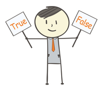 Graphic with Ben holding True and False signs
