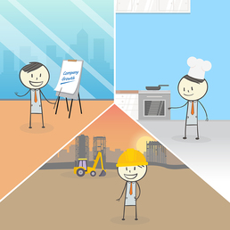 Graphic including three graphics of Ben working different jobs: on a construction site, cooking in a kitchen, and presenting a report in an office