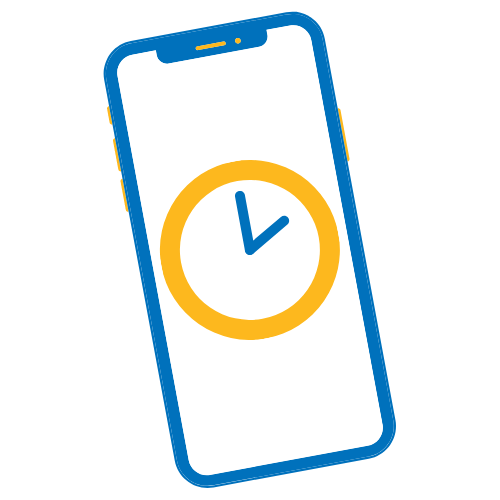 icon of a mobile phone with a clock on the screen