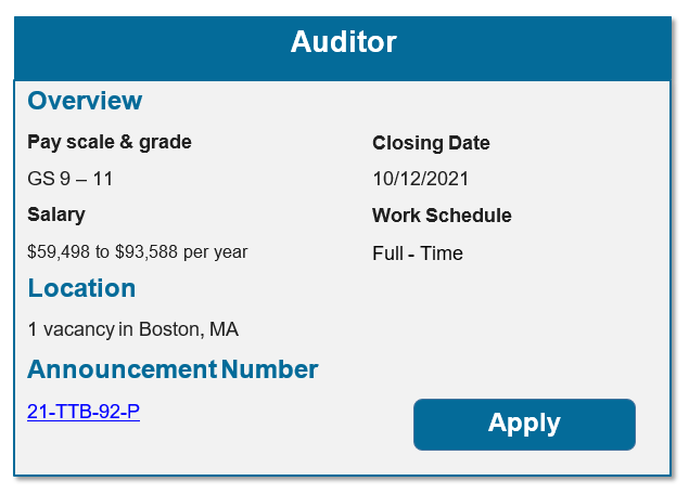 USAJobs Auditor Opportunity