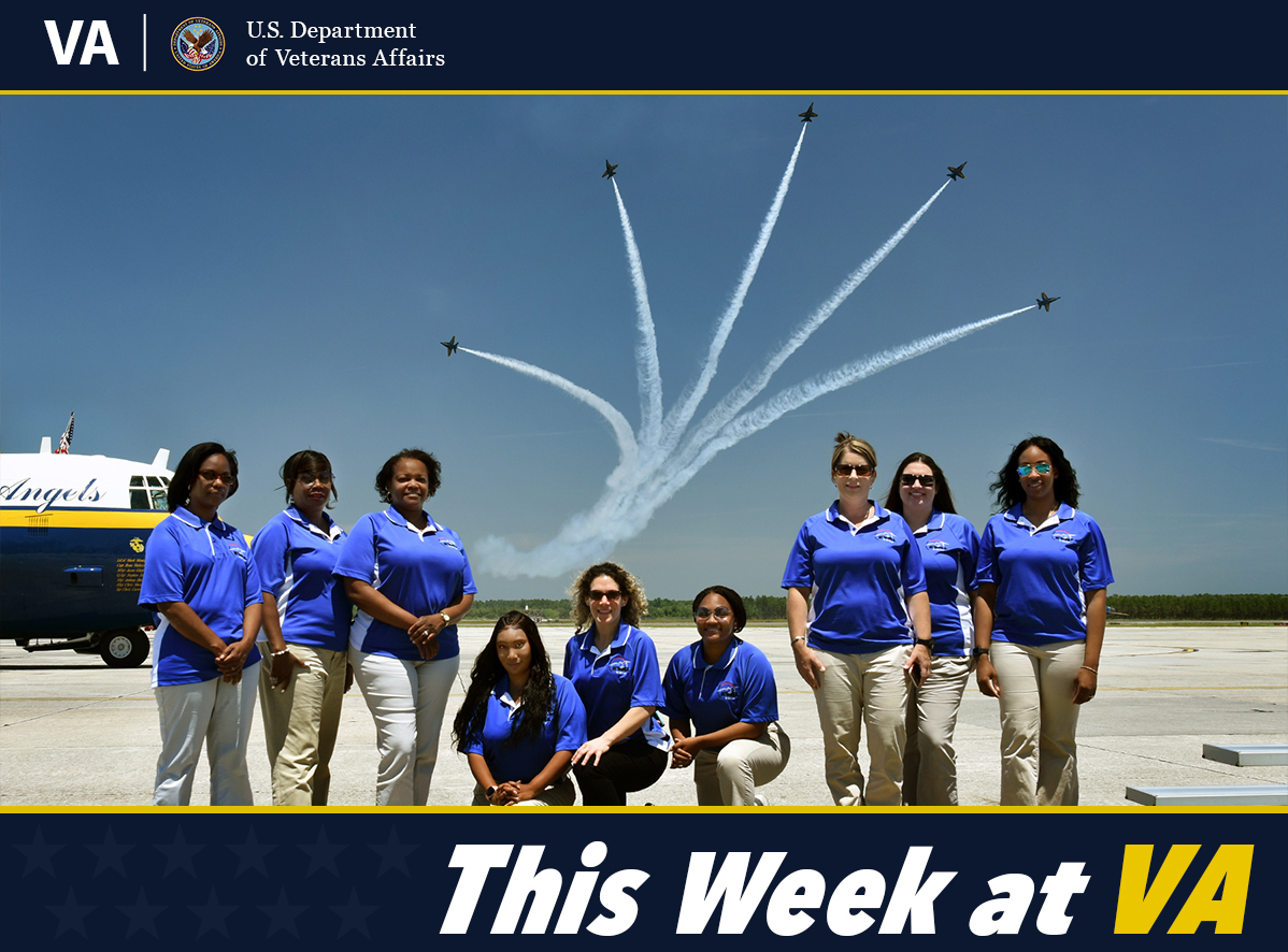 This Week at VA photo shows VA EVAL class visiting the Blue Angels