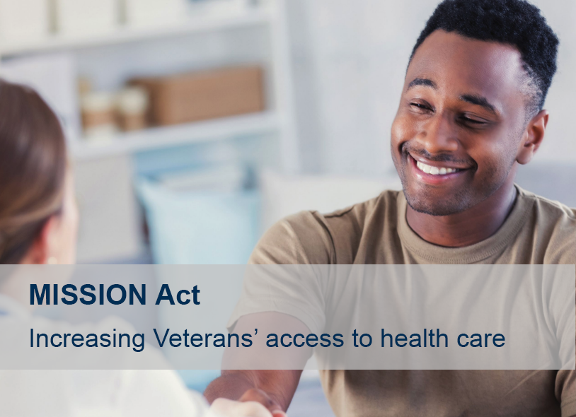 "Photograph of smiling Veteran shaking hands with a doctor with text reading ""MISSION Act: Increasing Veterans' access to health care"