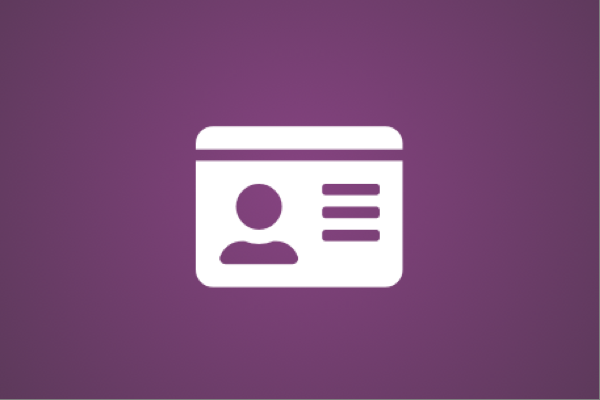 White icon of an ID card on a purple background