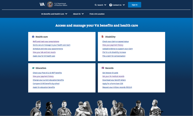 Screenshot of the new VA.gov homepage