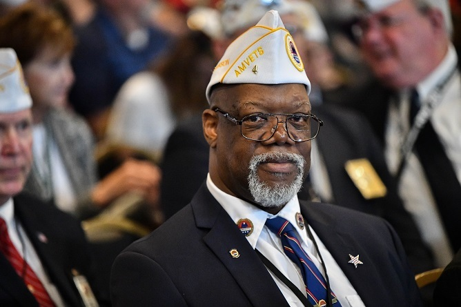 Veteran wearing an AMVETS hat