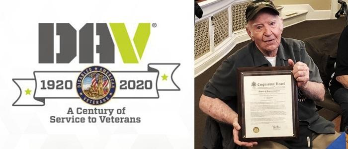 DAV centennial banner and Veteran, Harlan Plummer