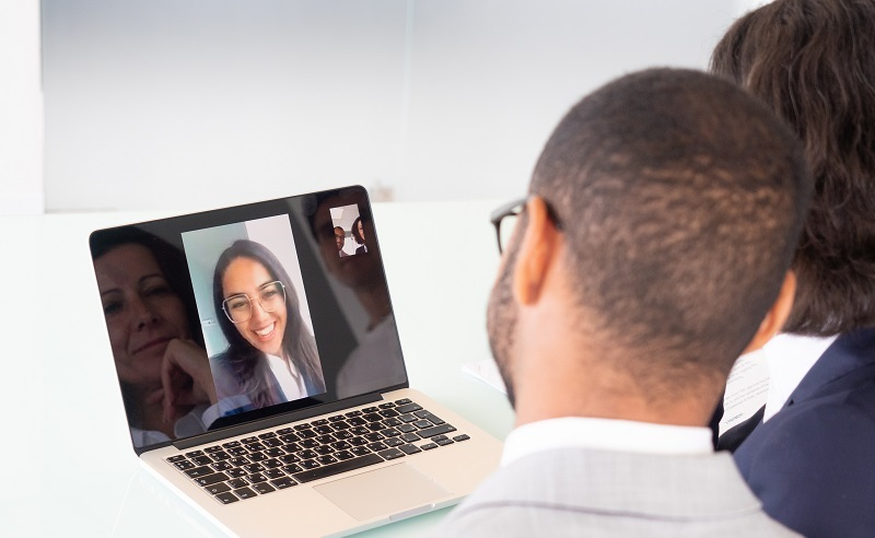 Couple video chat with a vocational rehabilitation counselor