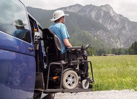 Disabled Veteran getting out of his specially adapted vehicle