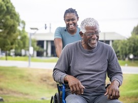 Disabled Veteran with his caregiver