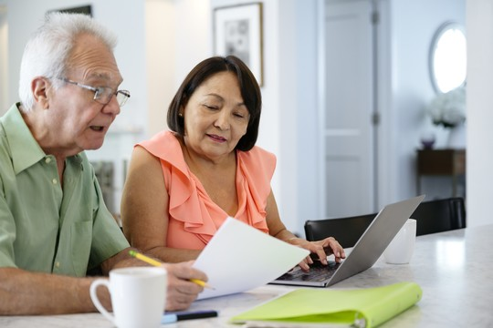 Senior couple using laptop to organize financial plan