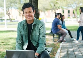 College student studying on campus