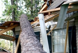 A fallen tree lands on a house during a hurricane