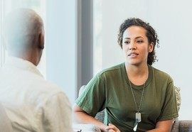 Veteran talks with counselor
