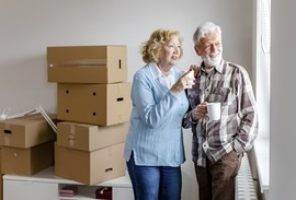 Senior Veteran couple moving into their new house