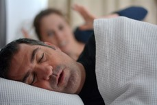 Woman irritated from spouse snoring