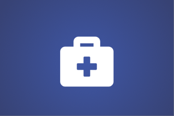 White medical bag icon on purple background