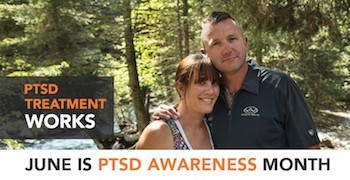 June is PTSD Awareness Month. Woman and man standing close together