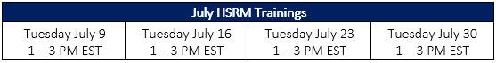 HSRM July Sched