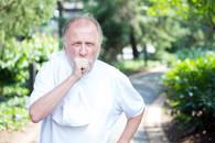 Veteran coughing while exercising