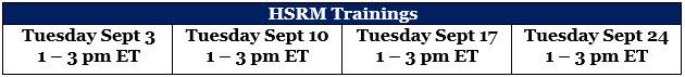 HSRM Sept Dates
