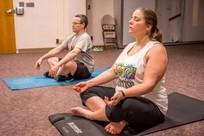 Veterans practicing yoga