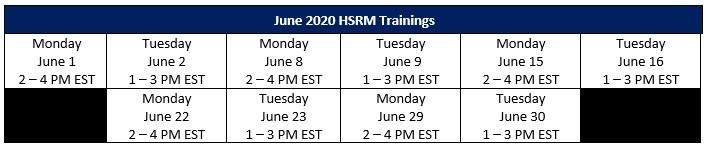 HSRM June Training Dates
