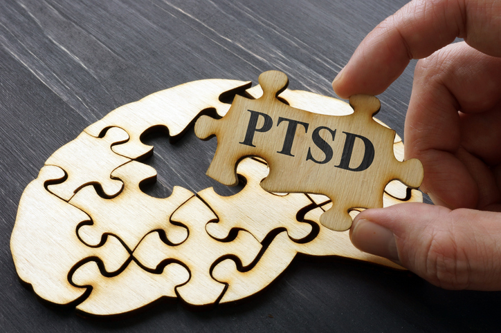 """A puzzle piece with """"PTSD"""" printed on it"""