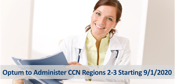 Woman smiling holding folders, Optum to Administer CCN Region s 2-3