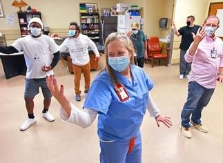 Veterans exercising at their VA medical center