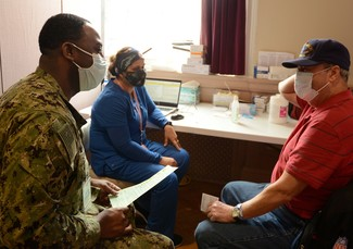 A Veteran getting information about the Airborne Hazards and Burn Pit Registry