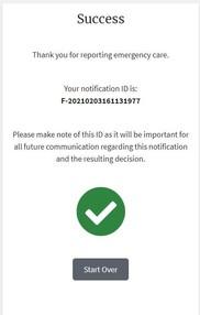 Sample image of CAEC Portal message