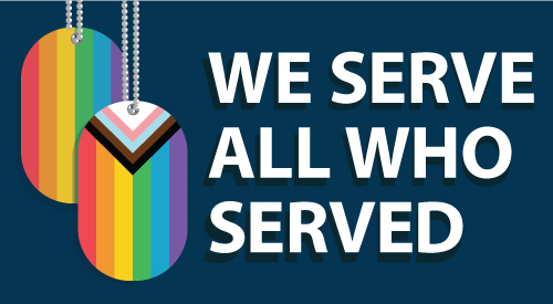 Banner with text that reads we serve all who served