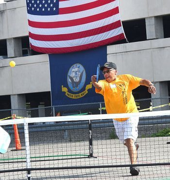 Mitchell playing tennis