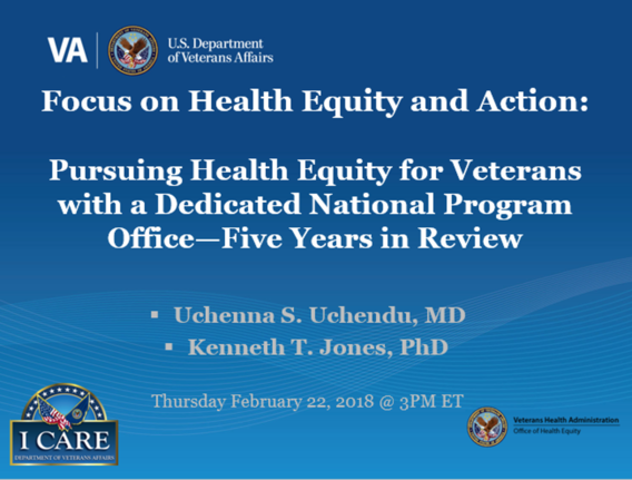 VA Office of Health Equity Focus on Health Equity and Action Cyberseminar Title Slide