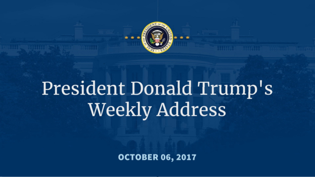 President donald j trump 39 s weekly address white Donald trump residence address