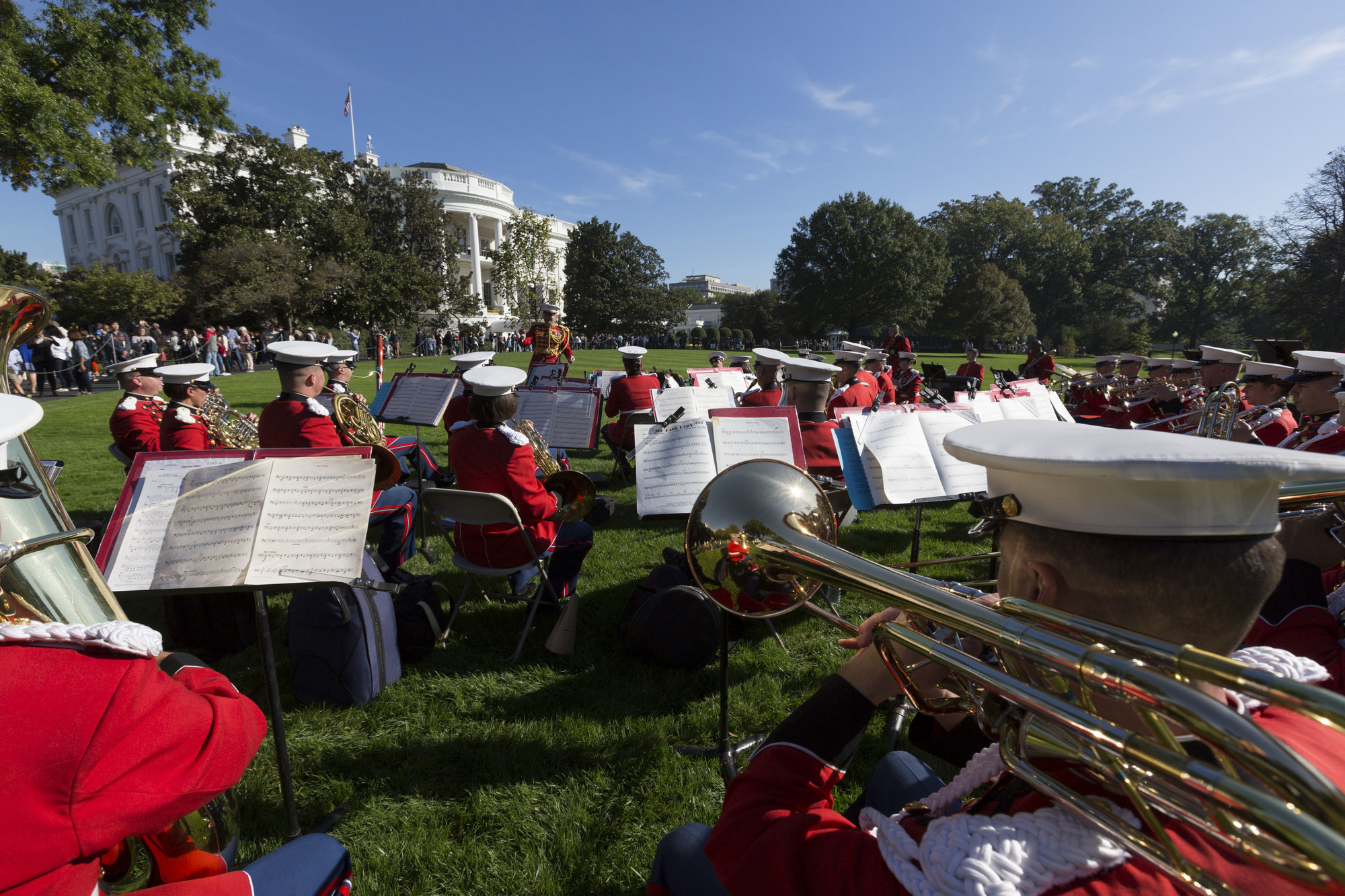 The Presidents Own Us Marine Band Perform For Visitors Viewing
