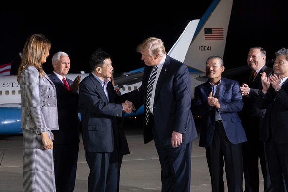 Vice President Pence joins President Trump to welcome home three American detainees