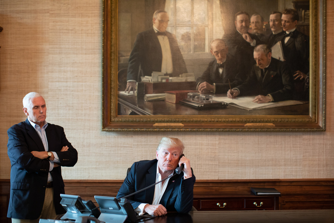 President Donald J. Trump and Vice President Mike Pence receive an emergency preparedness update call on the impact of Hurricane Florence on the east coast Saturday, Sept. 15, 2018, in the Treaty Room of the White House. (Official White House Photo by Shealah Craighead)