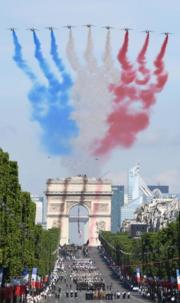 Over Bastille Day Parade